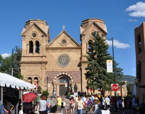 Saint Francis Cathedral Basilica in Santa Fe, NM during Indian Market.