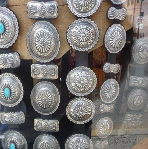 Window display of concho belts, Santa Fe.
