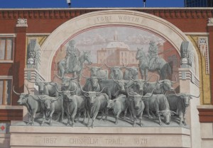 Mural in Fort Worth, TX, showing the end of the Chisholm Trail.